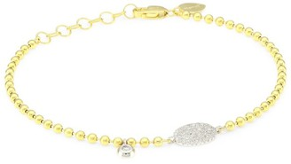 Meira T 14K Yellow Gold & Diamond Oval Disc Bracelet