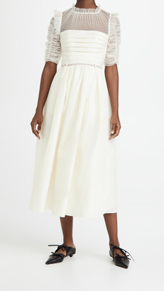 Self-Portrait Ivory Taffeta Mesh Midi Dress