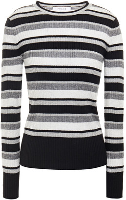 Frame Metallic Striped Ribbed-knit Sweater