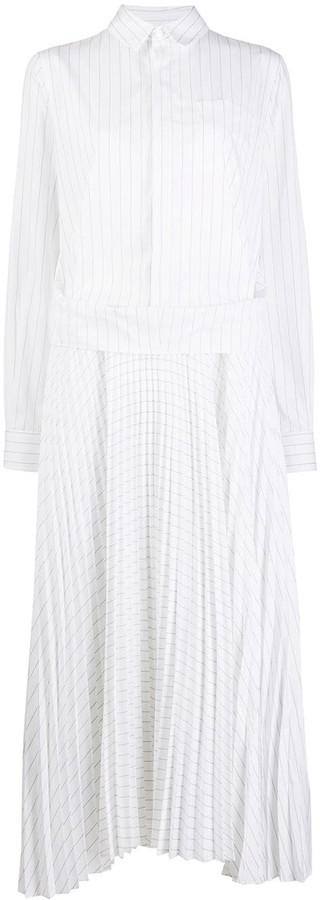 Plan C Striped Print Shirt Dress