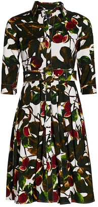 Samantha Sung Audrey Fig-Print Stretch-Cotton Shirtdress