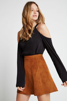 BCBGeneration High-Neck Cold-Shoulder Blouse - Black