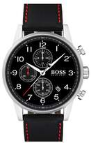 BOSS Navigator Chronograph Leather Strap Watch, 44mm