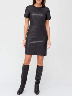 Very Short Sleeve Faux Leather T-Shirt Dress - Black