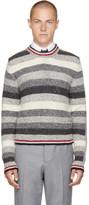 Thom Browne Grey Intarsia Multistripe Crewneck Pullover