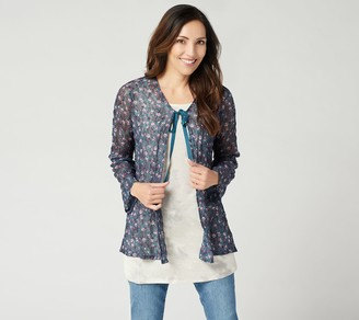 Logo By Lori Goldstein LOGO by Lori Goldstein Printed Sheer Lace Cardigan with Tie
