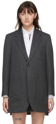 Thom Browne Grey Herringbone Oversized Sack Coat