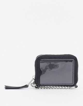 ASOS DESIGN faux leather wallet with cross body chain