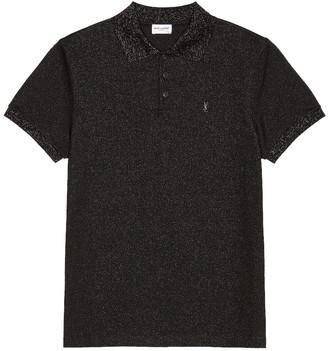 Saint Laurent Short Sleeve Polo in Black & Black Brillant | FWRD