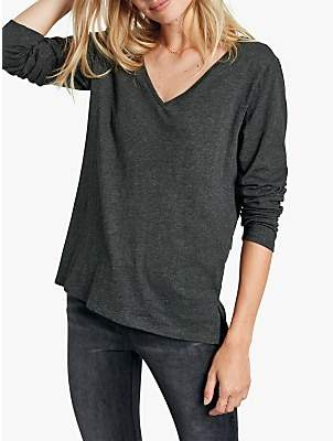 Hush Long Sleeve Slub V-Neck T-Shirt