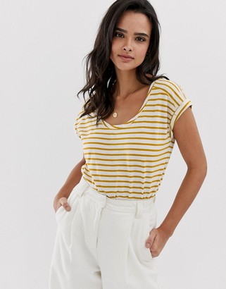 Esprit stripe crew neck t-shirt with turn up sleeve yellow