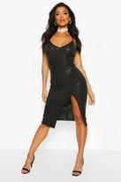 Sequin Strappy Plunge Front Split Midi Dress