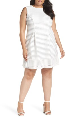 Eliza J Mesh Stripe Pleated A-Line Dress