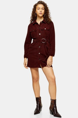 Topshop Womens Petite Burgundy Corduroy D-Ring Dress - Wine