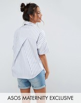 Asos Short Sleeve Shirt in Stripe with Pleat Back Detail