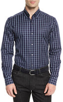 Ermenegildo Zegna Windowpane Long-Sleeve Sport Shirt, Navy