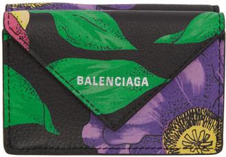 Balenciaga Black Floral Mini Papier Wallet