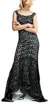 Kay Unger Off-The-Shoulder Crochet Trumpet Gown