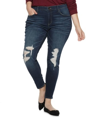 Mudd Juniors' Plus Size Ripped Low-Rise Jeggings