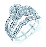 Ice 1 CT TW Diamond 14K White Gold Bridal Set