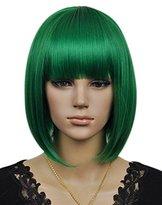 Kalyss® Women's Cosplay Party Kanekalon Synthetic Fiber Short Straight Dark Green Bob Hair Full Wigs
