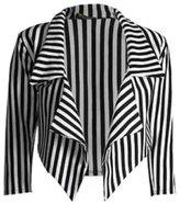 Generic New Ladies Vertical Stripe Cropped Blazer Style Jacket Sizes 6-18 (XXL)