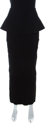 Issa Black Stretch Peplum Maxi Edith Skirt S