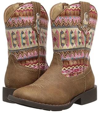 Roper Azteca (Toddler) (Tan Faux Leather Vamp/Aztec Printed Shaft) Cowboy Boots