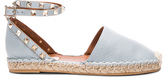Valentino Rockstud Double Flat Leather Espadrilles in Blue.