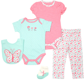 Cutie Pie Baby Aqua & Pink Butterfly Bodysuit Set - Infant