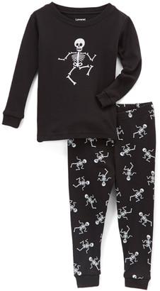 Leveret Sleep Bottoms - Black Skeleton Pajama Set - Toddler & Kids