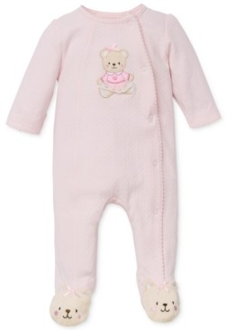 Little Me Baby Girls Sweet Bear Footed Coverall
