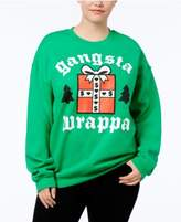 Hybrid Trendy Plus Size Gangsta Wrappa Holiday Graphic Sweatshirt