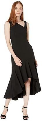 Calvin Klein Asymmetric Neck High-Low Dress (Black) Women's Dress