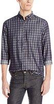 Kenneth Cole Reaction Men's Long Sleeve Indigo Check Button Down Shirt
