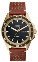 Fossil Men's Sport 54 Leather Strap Watch, 44Mm