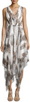 Catherine Malandrino Sleeveless V-Neck Cheetah-Print Handkerchief Dress, White Combo