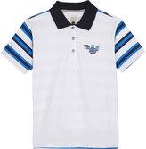 Armani Junior Striped Back Cotton Polo Shirt 4-16 Years