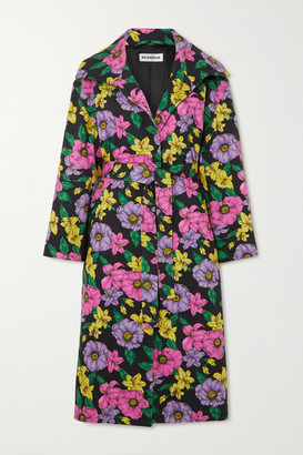 Balenciaga Belted Floral-print Cotton-drill Trench Coat - Black