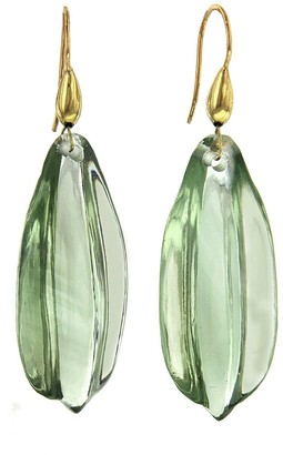 Ten Thousand Things Green Amethyst Carved Leaf Yellow Gold Drop Earrings