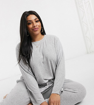 Asos DESIGN Curve mix & match lounge super soft long sleeve top with channelling