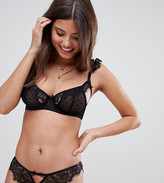Wolfwhistle Wolf & Whistle Fuller Bust heart mesh and lace cutout bra in black