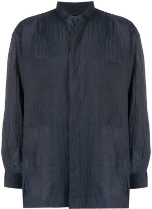 Issey Miyake Crinkled Mandarin Collar Shirt