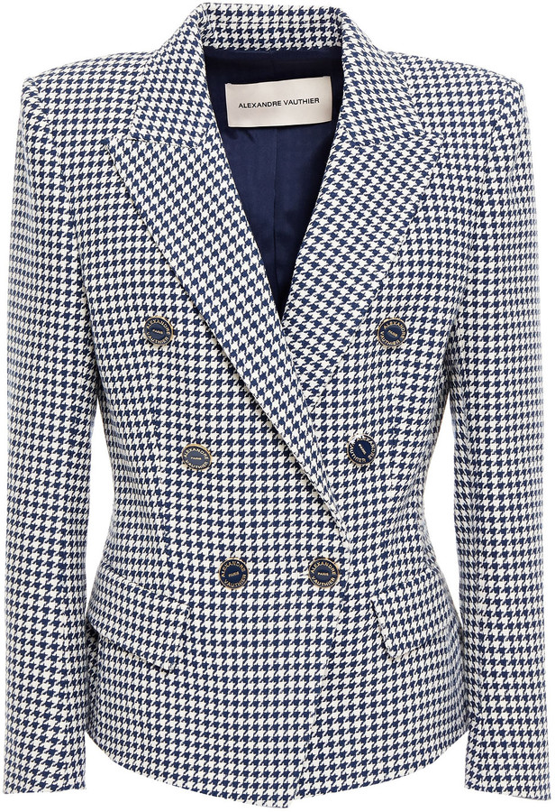 Alexandre Vauthier Double-breasted Houndstooth Cotton-blend Jacquard Blazer