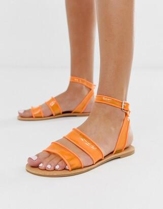 Park Lane flat clear strap sandals-Orange