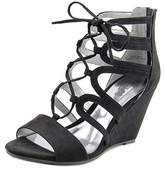 Carlos by Carlos Santana Madelyn Women Open Toe Canvas Black Wedge Sandal.