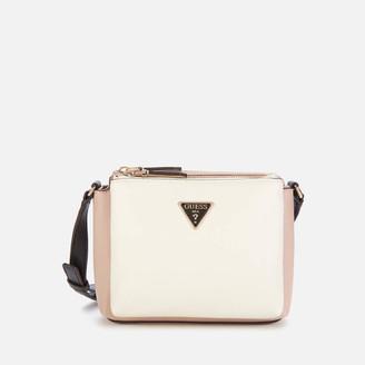 GUESS Women's Becca Double Zip Cross Body Bag - White Multi