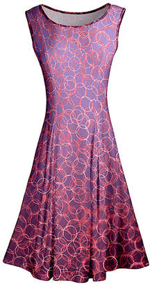 Lily Women's Casual Dresses PRP - Purple & Pink Circles Pleated Sleeveless A-Line Dress - Women & Plus