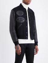Ralph Lauren Purple Label New York leather and wool-blend varsity jacket