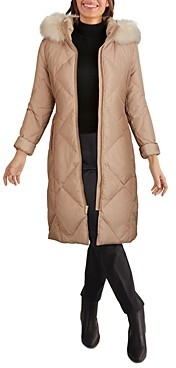 Cole Haan Hooded Faux Fur Trim Coat